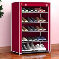 Cmerchants Metal Collapsible Shoe Stand(Maroon, 5 Shelves, DIY(Do-It-Yourself))
