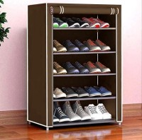 Cmerchants Home Creative 5 layer collapsible shoe rack BROWN Metal Collapsible Shoe Stand(Brown, 5 Shelves, DIY(Do-It-Yourself))