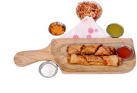 Kesha Spree Wooden Long Barbecue BBQ Platter/Tray with Handle for Serving Snacks, Appetizer, Desserts Tray(Tray)
