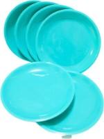 Everbuy Unbreakable Stackable Dishwasher Safe Toxin Free Microwave Safe Food Grade Virgin Plastic (Sea Green Color ) Round Half Plate Set For Home Kitchen Party Restauran