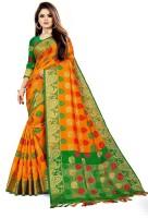 Toriox Woven, Embroidered, Checkered Banarasi Jacquard, Cotton Silk Saree(Orange)