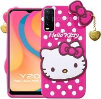 BOZTI Back Cover for Vivo Y20, Vivo Y20i, Cute Hello Kitty Case(Pink, Grip Case)