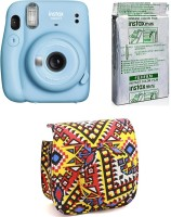 FUJIFILM Instax Mini 11 Sky Blue with Pouch and 10 Shot film with Pouch Instant Camera(Blue)