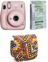 FUJIFILM Instax Mini 11 Blush Pink with Bohemia Pouch and 10 Shot film Instant Camera(Pink)