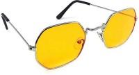 Rich Club Oval, Retro Square Sunglasses(Yellow)