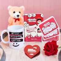 Indigifts Mug, Artificial Flower, Greeting Card Gift Set