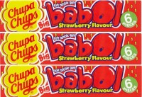 Chupa Chups Big Babol Strawberry Flavour Bubble Gum (Pack of 3), 28g Strawberry Chewing Gum(3 x 27.33 g)