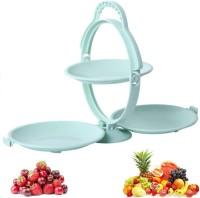 Nyalkaran Foldable 3 Fruit Plate Creative Shape Folding Snack Rack Plastic Fruit Plate Dessert Bowls, Dishes for Baking, Dessert, Ice Cream, Snack, Souffle Plastic Fruit & Vegetable Basket(Green)