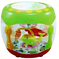 Gi4n Aquarium Shaped Flash Drum Rotating 3D Lights & Fishes with Music, Songs and Learn English(Multicolor)