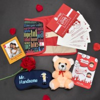 Indigifts Greeting Card, Artificial Flower, Soft Toy, Photoframe Gift Set