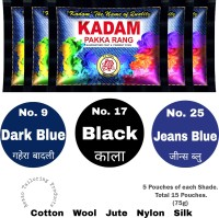 Aezzo Kadam Fabric Dye Color for Old and Faded Cloth. Black, jeans Blue, Dark Blue - Shade No. 17,25,9. (Pack of 15 Pouches.)