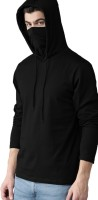 Adiba Fashion Factory Self Design Men Hooded Neck Black T-Shirt