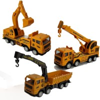 Shopoflux Excavator Crane and Crane Dumper Construction Engineering Toy Vehicle for Children 360 Degree Rotate(Yellow, Pack of: 3)