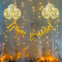 Cakeshala Solid 10Pcs Bday Banner Confetti Balloon with Led Light for Kids, Husband Girls, Boys Bday Decorations Items with Fairy Lights Balloon(Gold, Pack of 10)