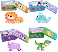 Biblubox 6 in 1 Wooden Dino Puzzles in a box(6 Pieces)