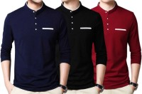 FastColors Solid Men Mandarin Collar Blue, Maroon, Black T-Shirt(Pack of 3)