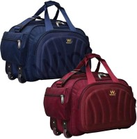 Wincey (Expandable) W_WICEY (Expandable) Combo Lightweight Waterproof Duffle Luggage with wheels Duffel Bag pack of 2 Travel Duffel Bag (BLUE,RED) Duffel With Wheels (Strolley)