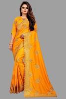 jogani brother Embroidered Daily Wear Art Silk Saree(Yellow)