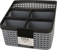 STOVESSY 5 Compartments plastic pen stand ,stationary stand(Grey, Black)