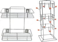 Kpt Multipurpose Storage Rack/Shelf, Double Layer Kitchen Rack, Bathroom Shelves and Racks Steel, Wall Mounted Organiser for Home/ Spice Bottle Shelf Holder Platform Cabinet (2Layer) With Cup Stand Containers Kitchen Rack(Steel)