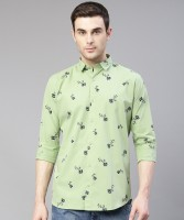 U TURN Men Printed Casual Light Green Shirt