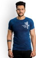 Recorrer Self Design Men Round Neck Blue T-Shirt