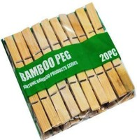 spidy Set of 20 Natural Bamboo clips , Environment Friendly Product Made of Real Wooden Clips, and Steel Center Spring Longest Life When Compared To Other Plastic Clips These Clips Are Not Fade at Any Climate Conditions Wooden Cloth Clips(Beige Pack of 20)