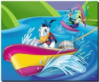 SKY DOT donald duck and goofy water skiing photo collection disney theme Mousepad(Multicolor)