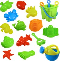 Wishkey Mini Gardening/ Beach Sand Pretend Play Set with Bucket, Multiple Tools & Storage Bag-Set of 18 pcs