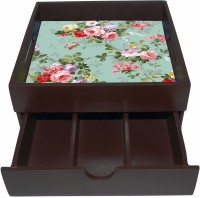 Enigmatic Woodworks Wooden Tray with Drawer |Kitchen Use or Home Décor |g| Vintage Flower Print | Tray(Tray)