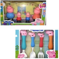 Anamika Art Creation PEPPA PIG FAMILY WITH 4 PCS STAINLESS STEEL SPOON AND FORK SET(Multicolor)