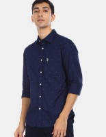 U.S. POLO ASSN. Men Printed Casual Blue Shirt