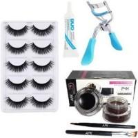 Beauzy 5 Pair Eyelash, Glue, Curler, Gel Eyeliner Black and Brown Pack of 5 (8 Items in the set)(4 Items in the set)