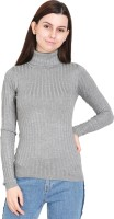 MansiCollections Striped High Neck Casual Women Grey Sweater