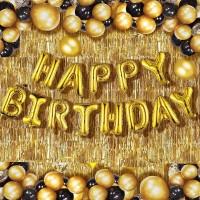 Devansh enterprises Solid Happy Birthday Golden Foil Letter Balloons(13 foil latter 1 pack)With 30 Pic Black Gold Balloons And 2 Pcs Golden Metallic Fringe Shiny Curtains(Pack Of 45) Balloon(Gold, Black, Pack of 45)