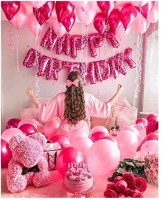 JEENAL TRENDS Solid HAPPY BIRTHDAY PINK FOIL BALLOON 13 PCS ,50 PCS HD METALLIC BALLOONS PINK AND LIGHT PINK , PUMP AND RIBBON SET OF 65 PCS Balloon(Pink, Pack of 65)