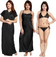 Shopping World Women Robe and Lingerie Set(Black)