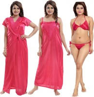 Shopping World Women Robe and Lingerie Set(Pink)