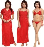Shopping World Women Robe and Lingerie Set(Red)
