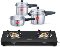 IMPEX Gas Stove Combo-2 L, 3 L, 5 L Induction Bottom Pressure Cooker + Induction Bottom Cookware Set(Aluminium, 2 - Piece)