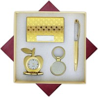 Apogeo 4 in 1 Golden Gift Set with Apple Clock, Crystal Pen, Business Card Holder, Key Chain for Personal/Corporate Gifting Pen Gift Set(Pack of 4)