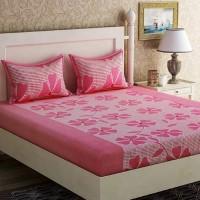 zabolon 144 TC Cotton Double 3D Printed Bedsheet(Pack of 1, Pink)