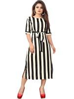 NEW ETHNIC FASHION Women A-line White, Black Dress