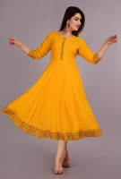 YESLY Women Solid Anarkali Kurta(Yellow)