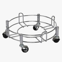 Taxton Heavy Stainless Steel Gas Cylinder Trolley With Wheel | Gas Trolly | Lpg Cylinder Stand | Gas Trolly Wheel |Cylinder Trolley with Wheels | Gas Cylinder Trolley(Silver, Black)
