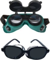 Solitaire WELDING GOGGLES FOR EYE PROTECTION 2 COLOUR WHITE BLACK and JALI BLACK GOGGLES Welding  Safety Goggle(Free-size)