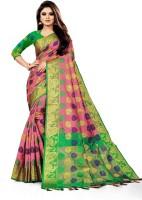 TORIOX Woven, Embroidered, Checkered Banarasi Jacquard, Cotton Silk Saree(Pink)