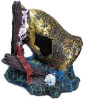 Zamzam Enterprises Antique Aquarium Bell showpiece & collectible Idol and Figure Multi Purpose use Best for Aquarium. Artificial Fish Tank Resin Trunk Ornament Bole Landscape with Holes for Small Fish.(Gold)