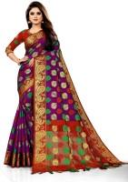 TORIOX Woven, Embroidered, Checkered Banarasi Jacquard, Cotton Silk Saree(Multicolor)