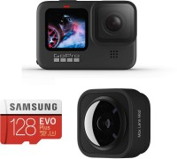 GoPro Hero 9 with Max lens Mod and 128gb Micro SD Card Sports and Action Camera(Black, 23.6 MP)